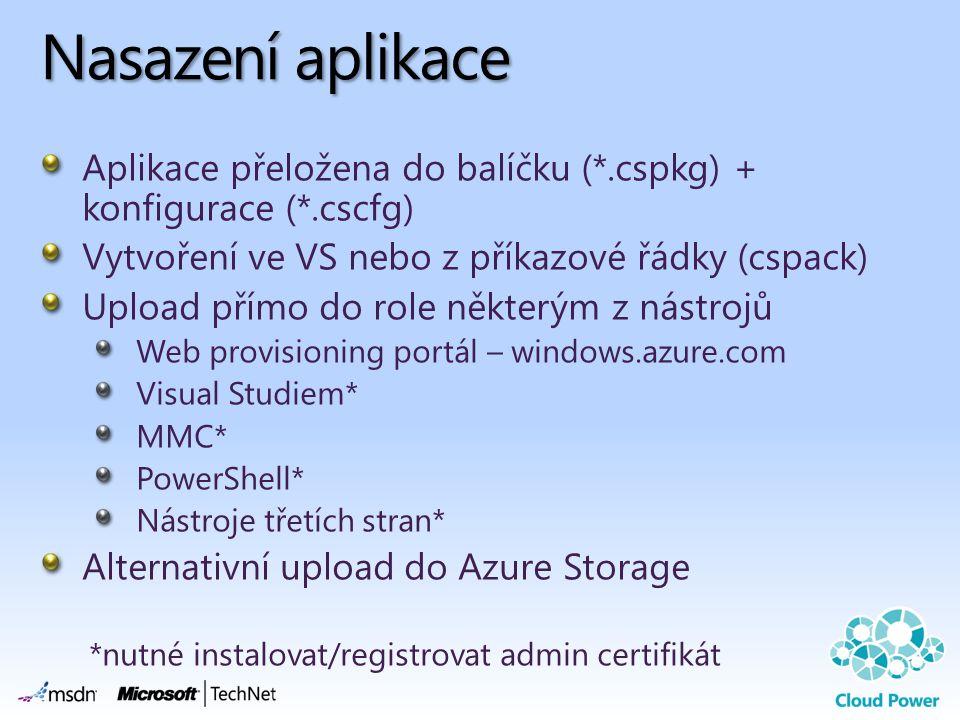 Nasazení aplikace Aplikace přeložena do balíčku (*.cspkg) + konfigurace (*.cscfg) Vytvoření ve VS nebo z příkazové řádky (cspack)