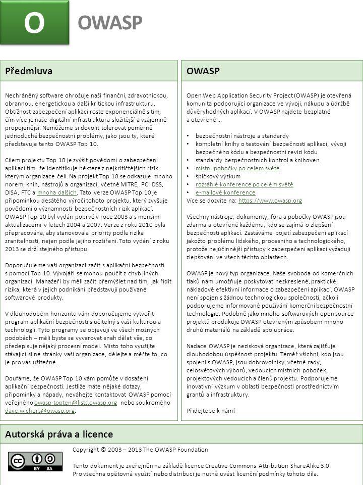 O OWASP Předmluva OWASP Autorská práva a licence