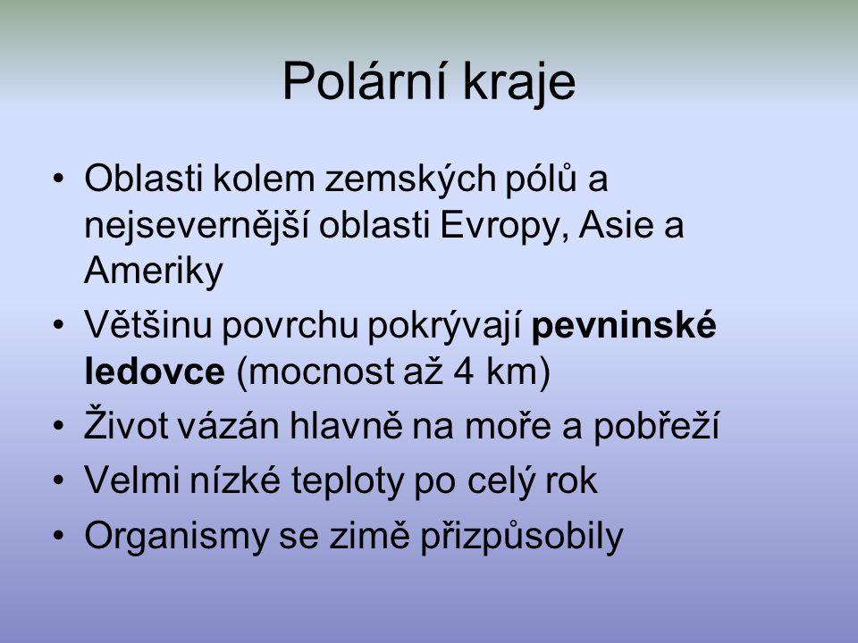 Polární kraje Oblasti kolem zemských pólů a nejsevernější oblasti Evropy, Asie a Ameriky.