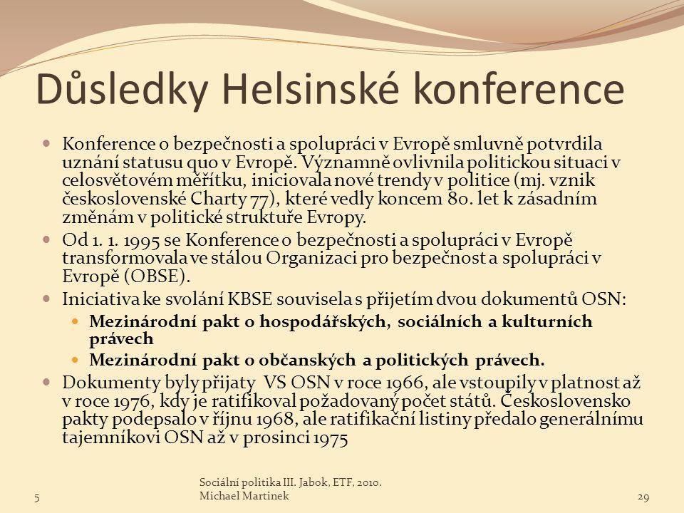 Důsledky Helsinské konference