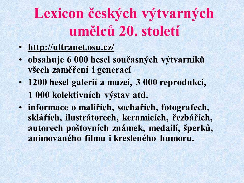 Lexicon českých výtvarných umělců 20. století