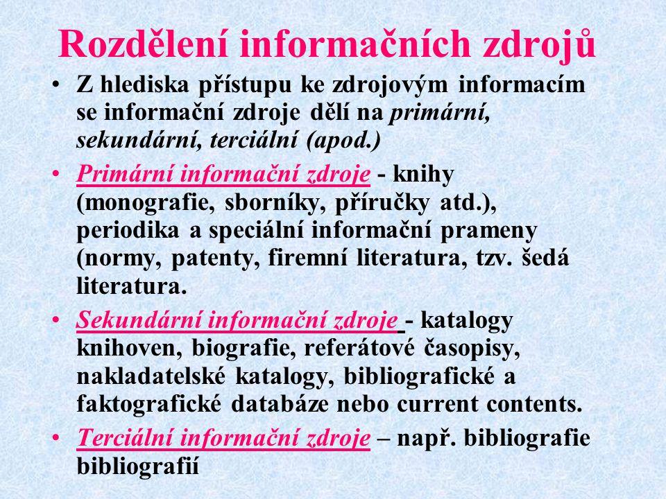 Rozdělení informačních zdrojů