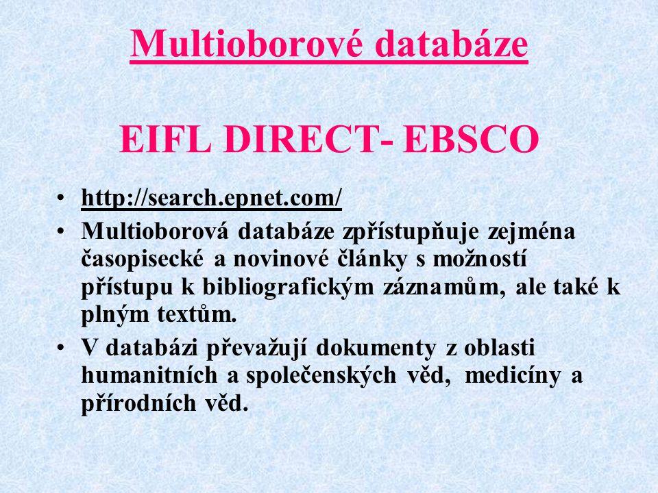 Multioborové databáze EIFL DIRECT- EBSCO