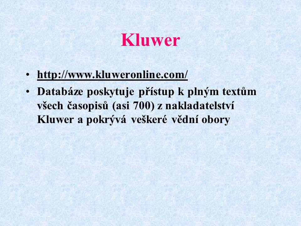 Kluwer http://www.kluweronline.com/