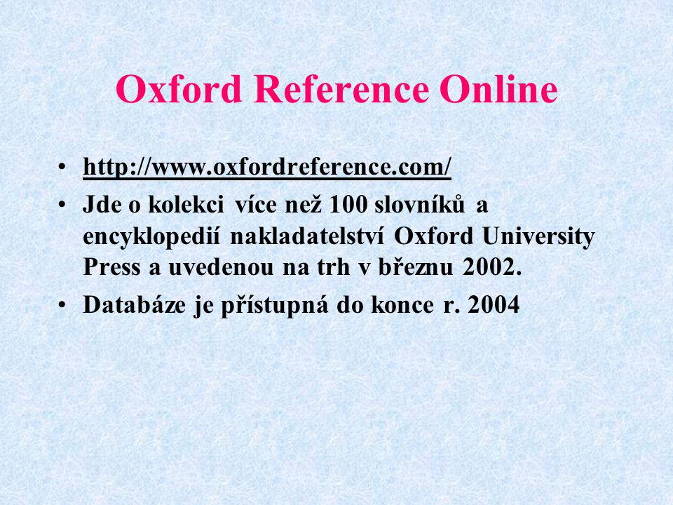 Oxford Reference Online
