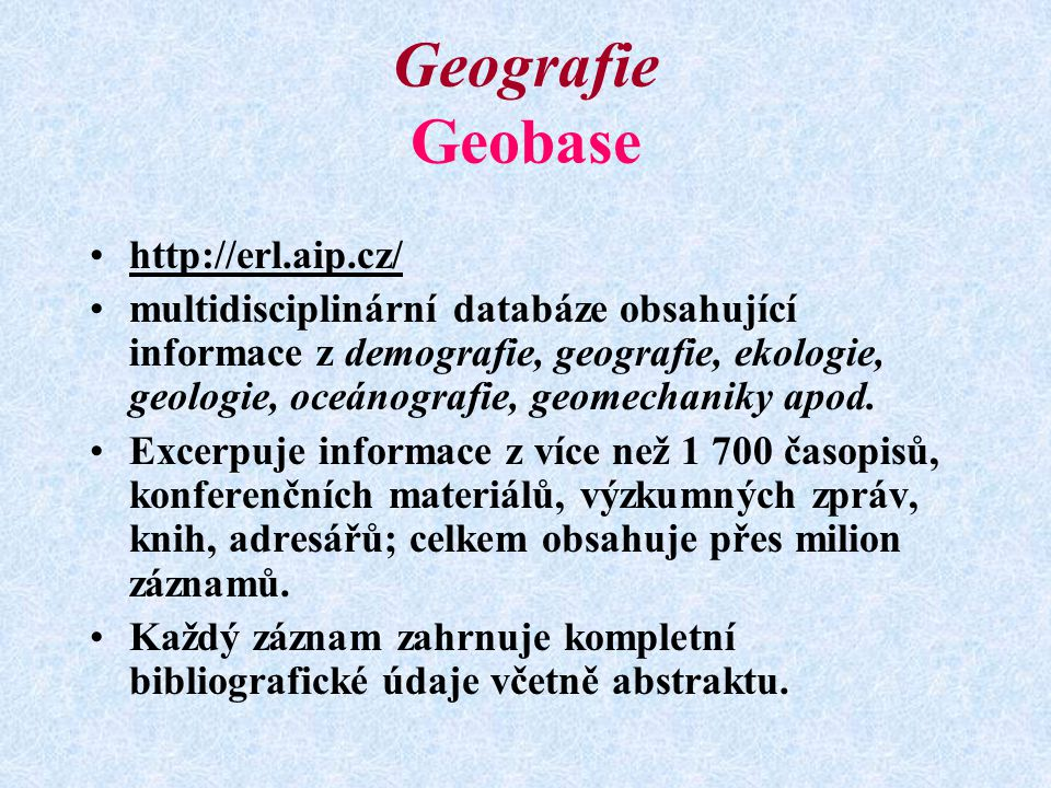Geografie Geobase http://erl.aip.cz/