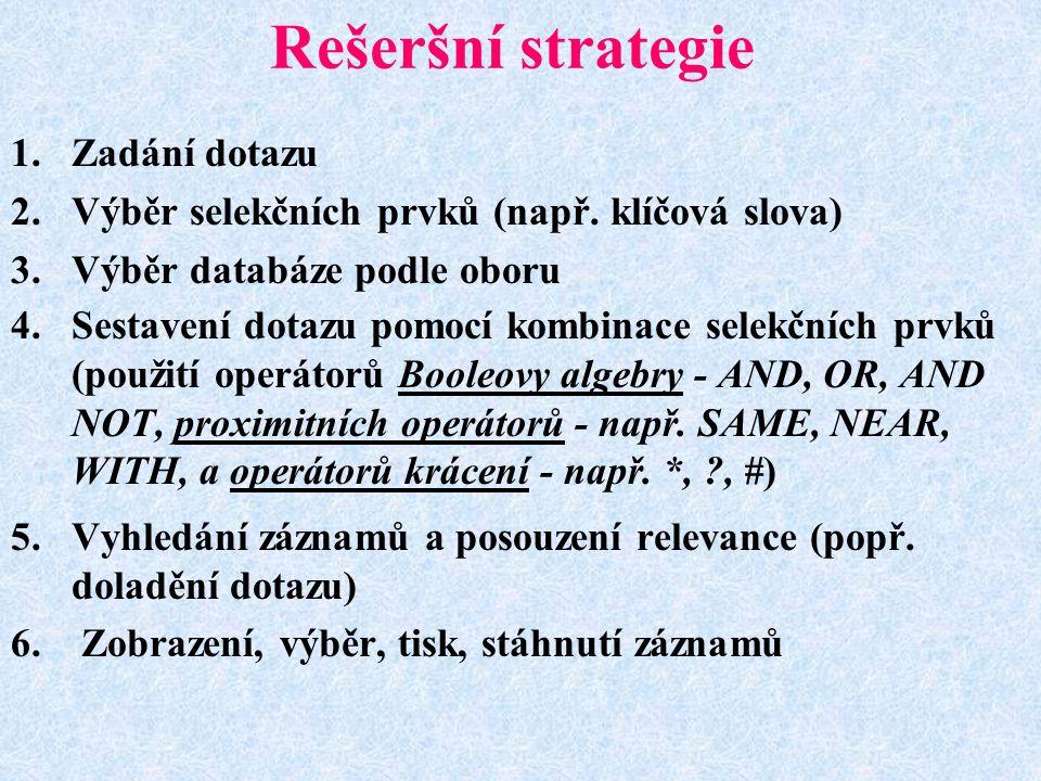 Rešeršní strategie Zadání dotazu
