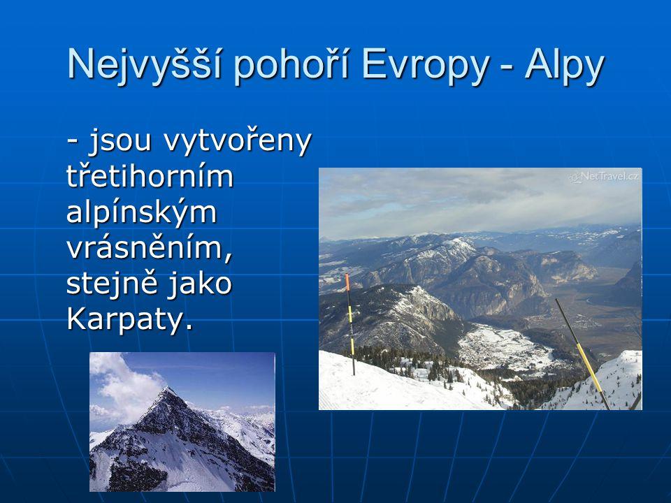 Nejvyšší pohoří Evropy - Alpy