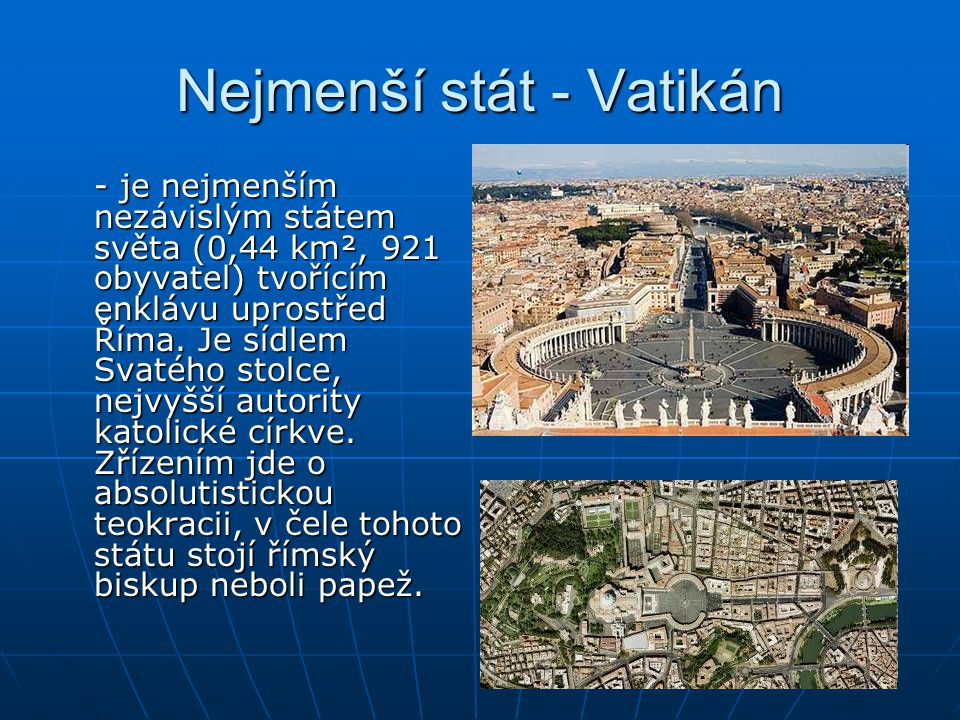 Nejmenší stát - Vatikán