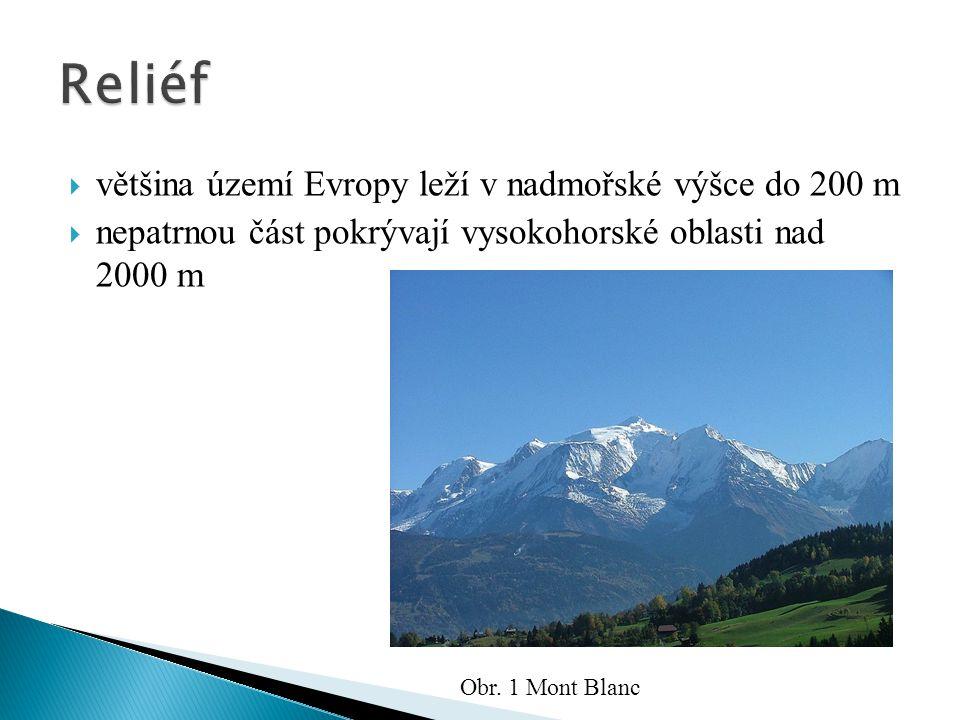 Reliéf většina území Evropy leží v nadmořské výšce do 200 m
