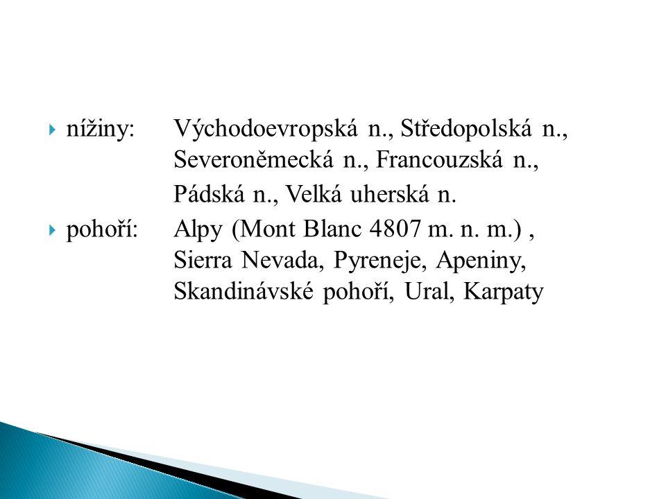 nížiny:. Východoevropská n. , Středopolská n. ,. Severoněmecká n