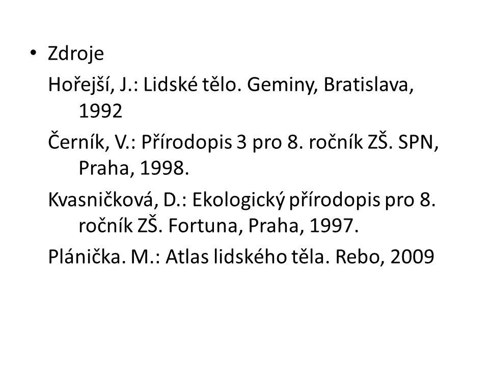 Zdroje Hořejší, J.: Lidské tělo. Geminy, Bratislava, 1992. Černík, V.: Přírodopis 3 pro 8. ročník ZŠ. SPN, Praha, 1998.
