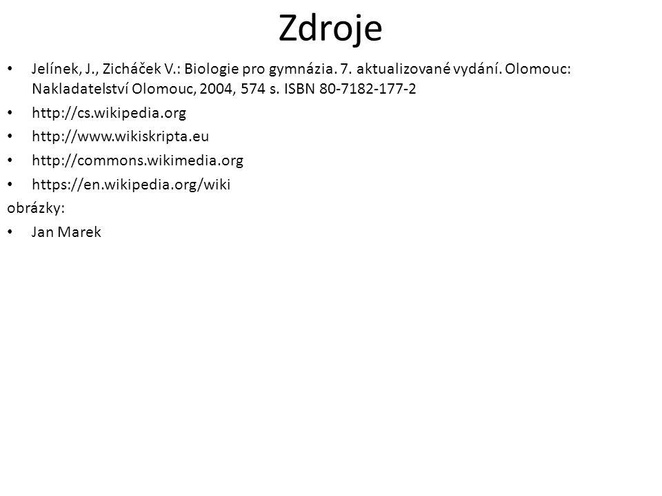 Zdroje Jelínek, J., Zicháček V.: Biologie pro gymnázia. 7. aktualizované vydání. Olomouc: Nakladatelství Olomouc, 2004, 574 s. ISBN 80-7182-177-2.