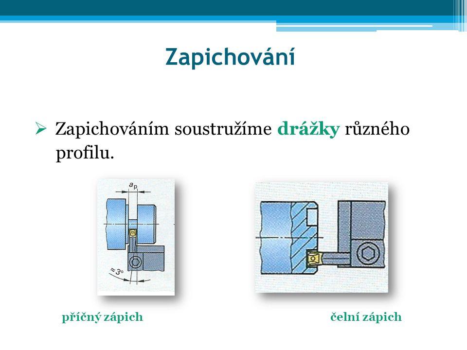 Zapichování Zapichováním soustružíme drážky různého profilu.