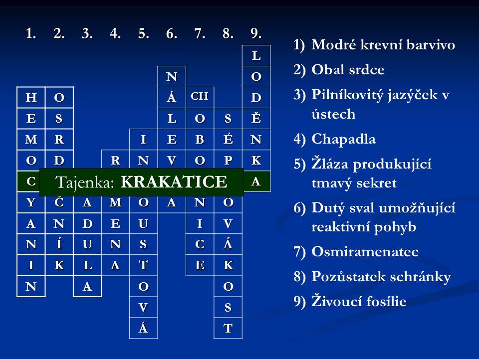 Tajenka: KRAKATICE 1. 2. 3. 4. 5. 6. 7. 8. 9. Modré krevní barvivo