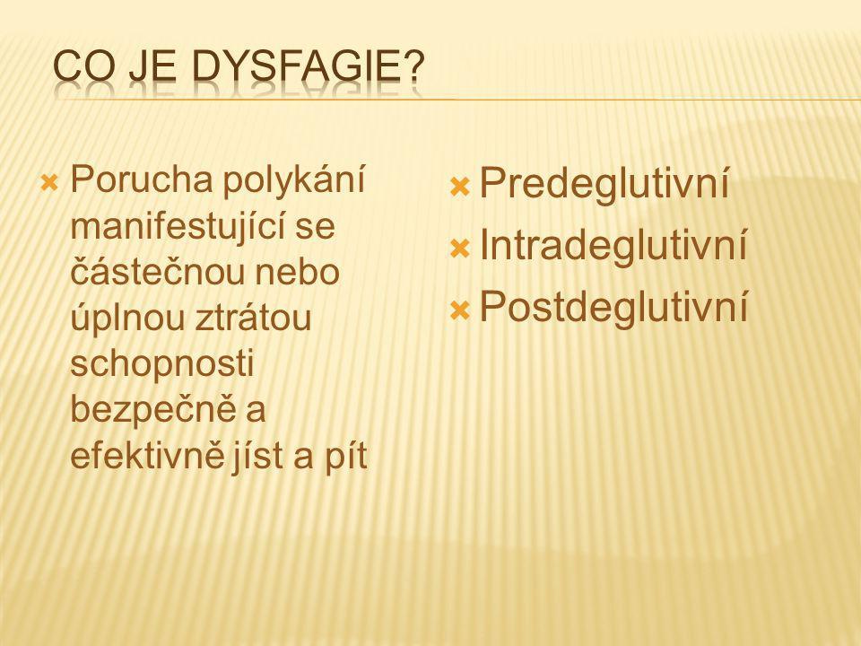 Co je dysfagie Predeglutivní Intradeglutivní Postdeglutivní