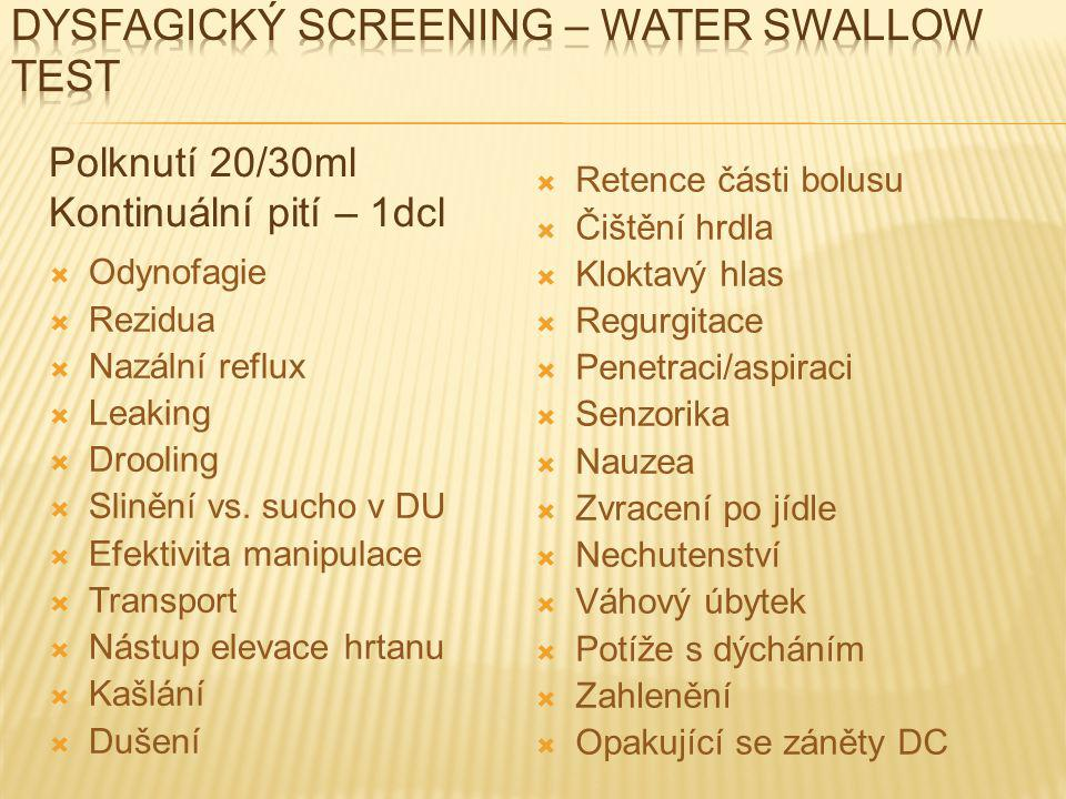 Dysfagický screening – water swallow test