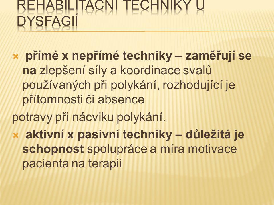 Rehabilitační techniky u dysfagií