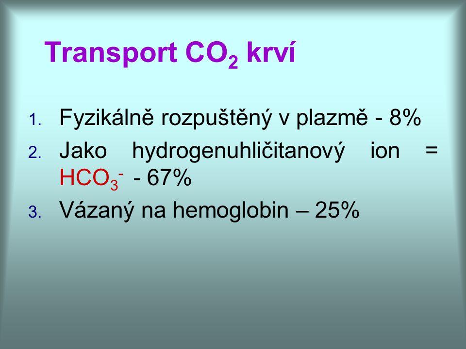 Transport CO2 krví Fyzikálně rozpuštěný v plazmě - 8%