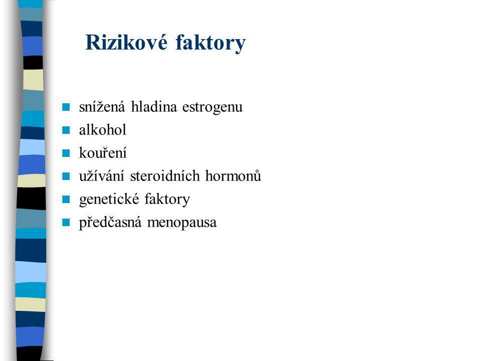 Rizikové faktory snížená hladina estrogenu alkohol kouření