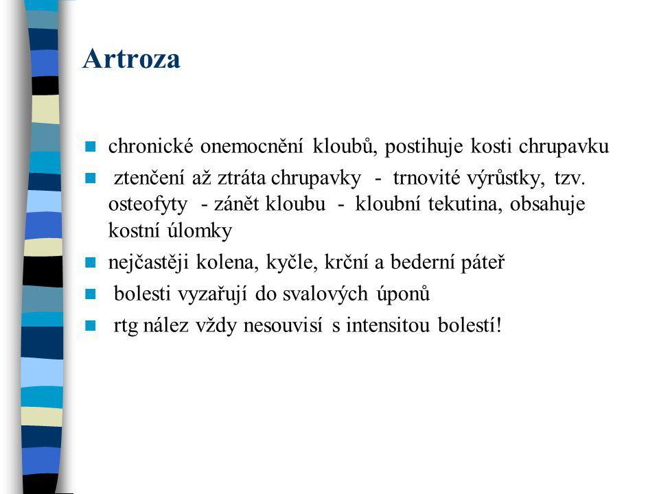 Artroza chronické onemocnění kloubů, postihuje kosti chrupavku