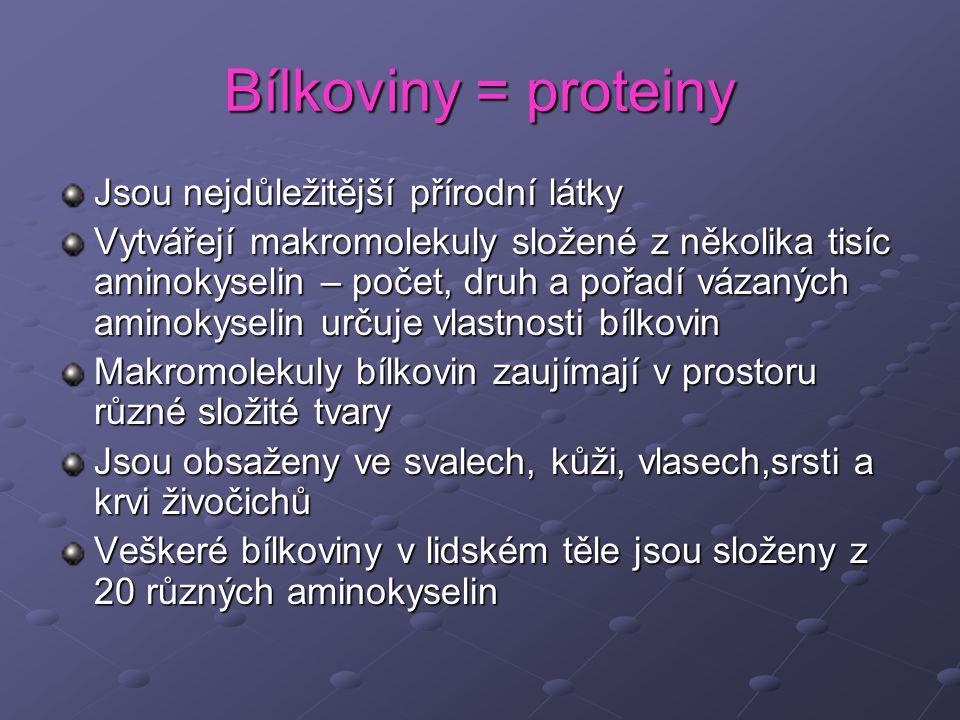 Bílkoviny = proteiny Jsou nejdůležitější přírodní látky