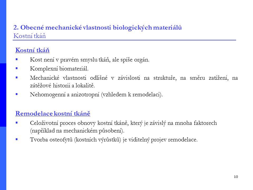 2. Obecné mechanické vlastnosti biologických materiálů Kostní tkáň