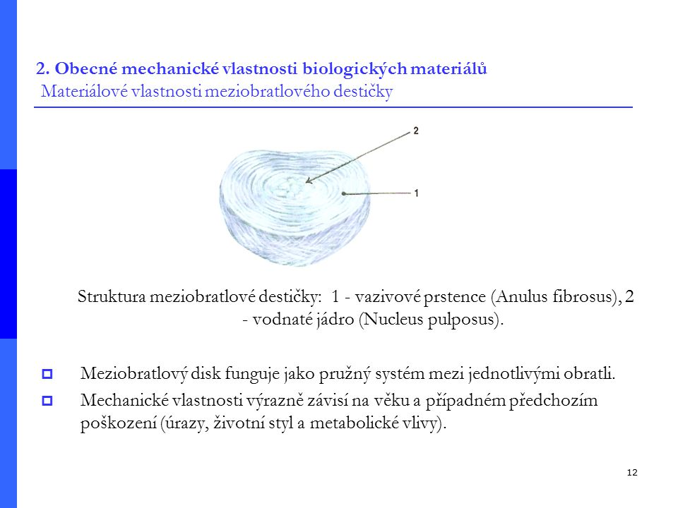 2. Obecné mechanické vlastnosti biologických materiálů Materiálové vlastnosti meziobratlového destičky