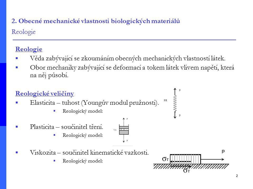 2. Obecné mechanické vlastnosti biologických materiálů Reologie