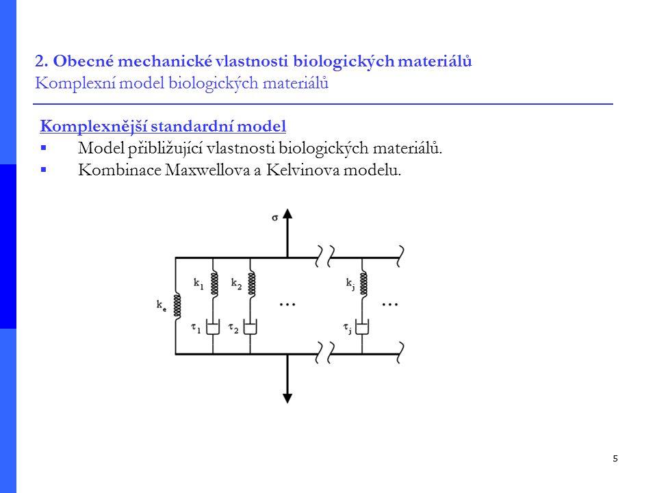 2. Obecné mechanické vlastnosti biologických materiálů Komplexní model biologických materiálů