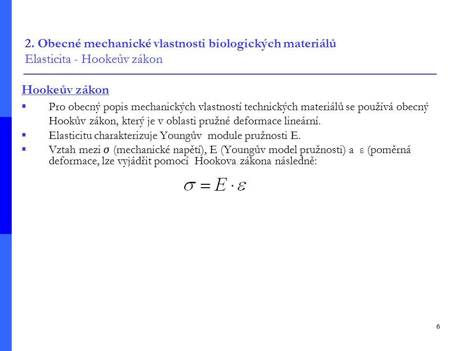 2. Obecné mechanické vlastnosti biologických materiálů Elasticita - Hookeův zákon
