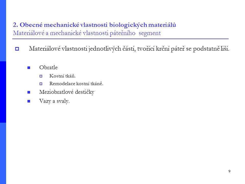 2. Obecné mechanické vlastnosti biologických materiálů Materiálové a mechanické vlastnosti páteřního segment