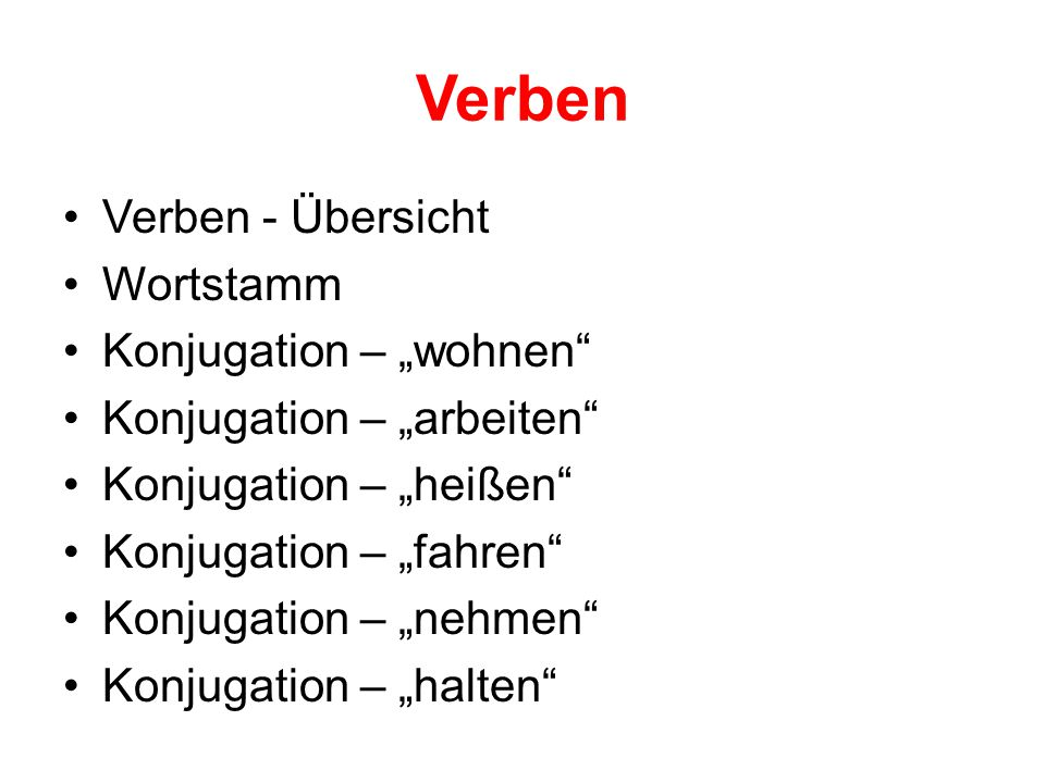 """Verben Verben - Übersicht Wortstamm Konjugation – """"wohnen"""