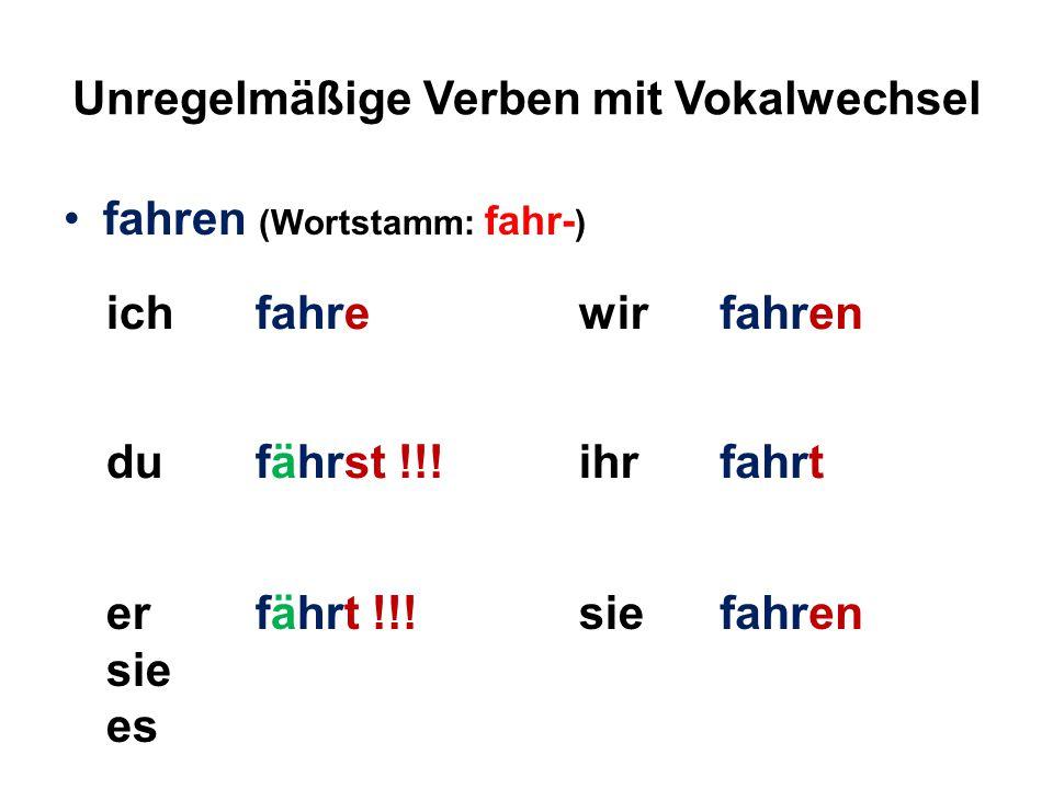 Unregelmäßige Verben mit Vokalwechsel