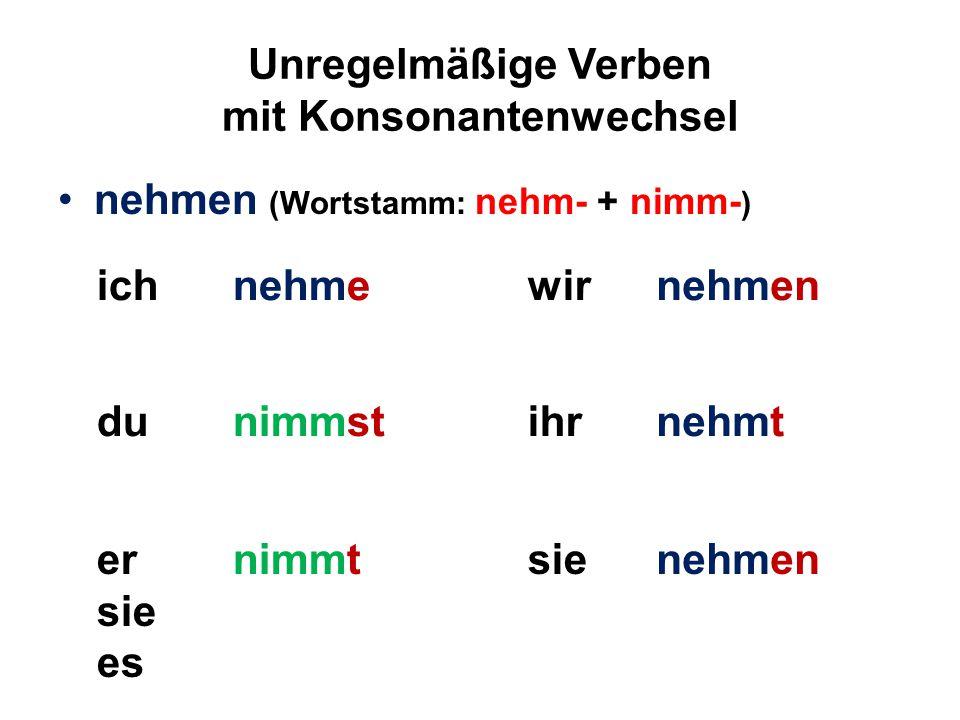 Unregelmäßige Verben mit Konsonantenwechsel