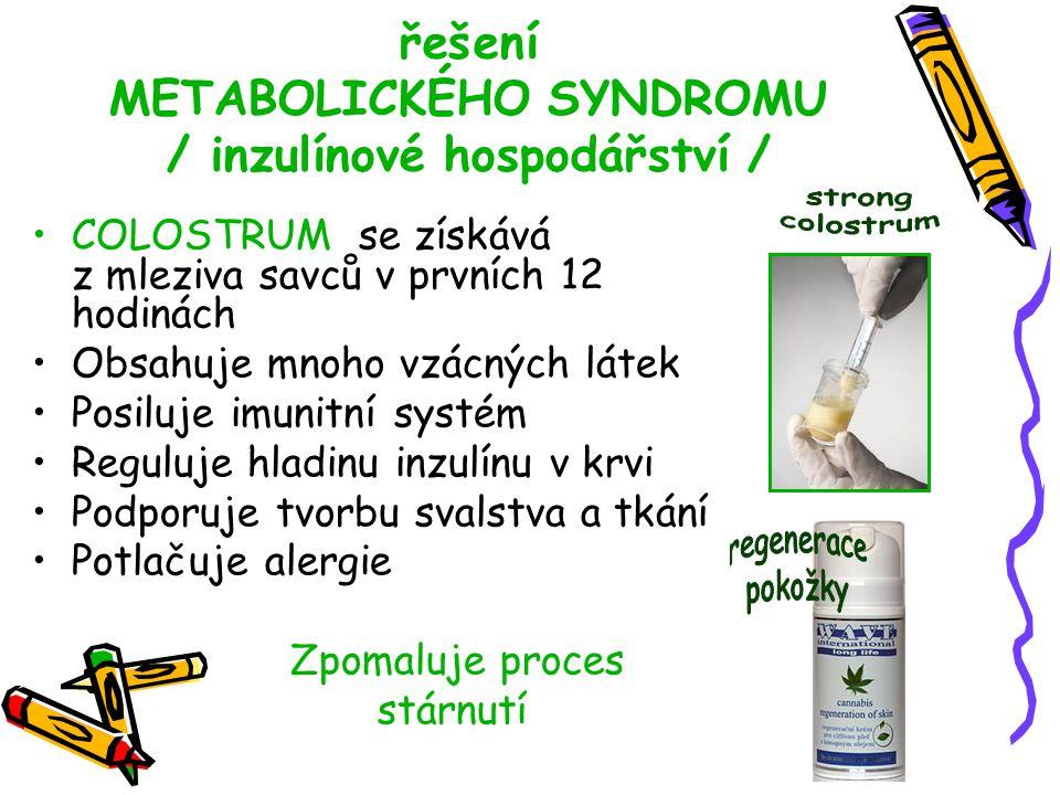 řešení METABOLICKÉHO SYNDROMU / inzulínové hospodářství /