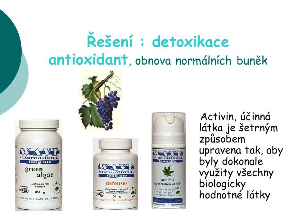 Řešení : detoxikace antioxidant, obnova normálních buněk