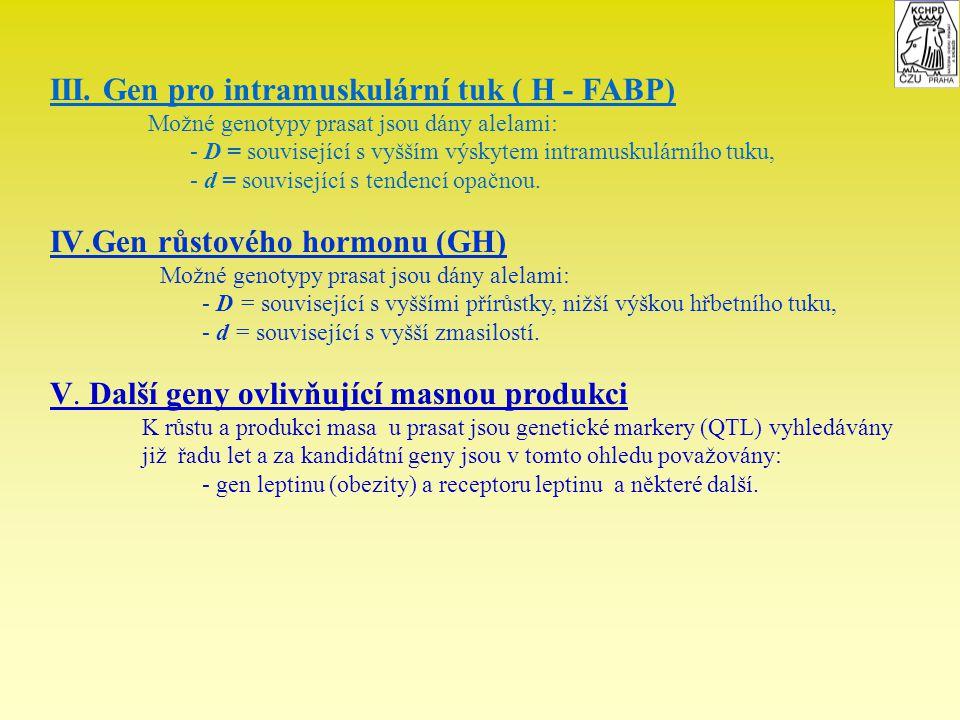 III. Gen pro intramuskulární tuk ( H - FABP)