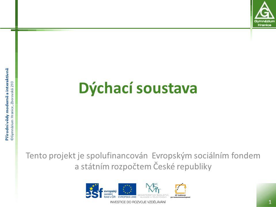 Dýchací soustava Tento projekt je spolufinancován Evropským sociálním fondem a státním rozpočtem České republiky.