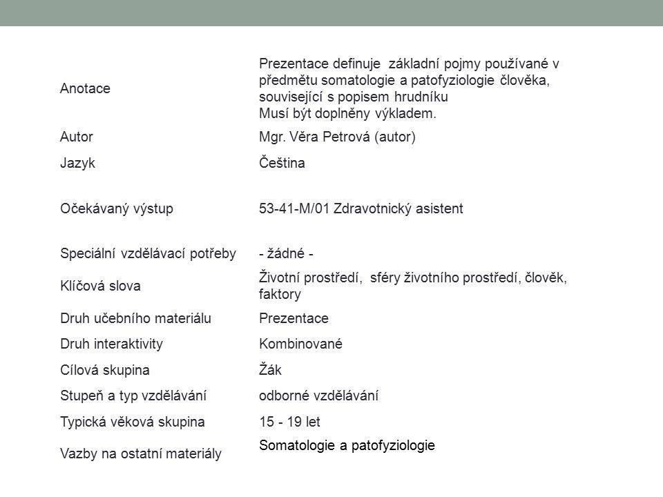 Anotace Prezentace definuje základní pojmy používané v předmětu somatologie a patofyziologie člověka, související s popisem hrudníku.