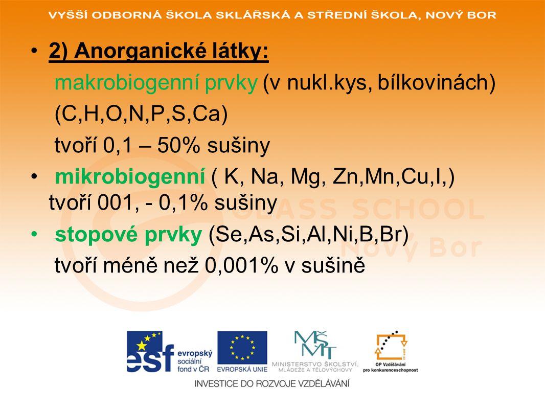 2) Anorganické látky: makrobiogenní prvky (v nukl.kys, bílkovinách) (C,H,O,N,P,S,Ca) tvoří 0,1 – 50% sušiny.