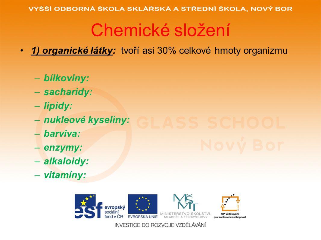 Chemické složení 1) organické látky: tvoří asi 30% celkové hmoty organizmu. bílkoviny: sacharidy: