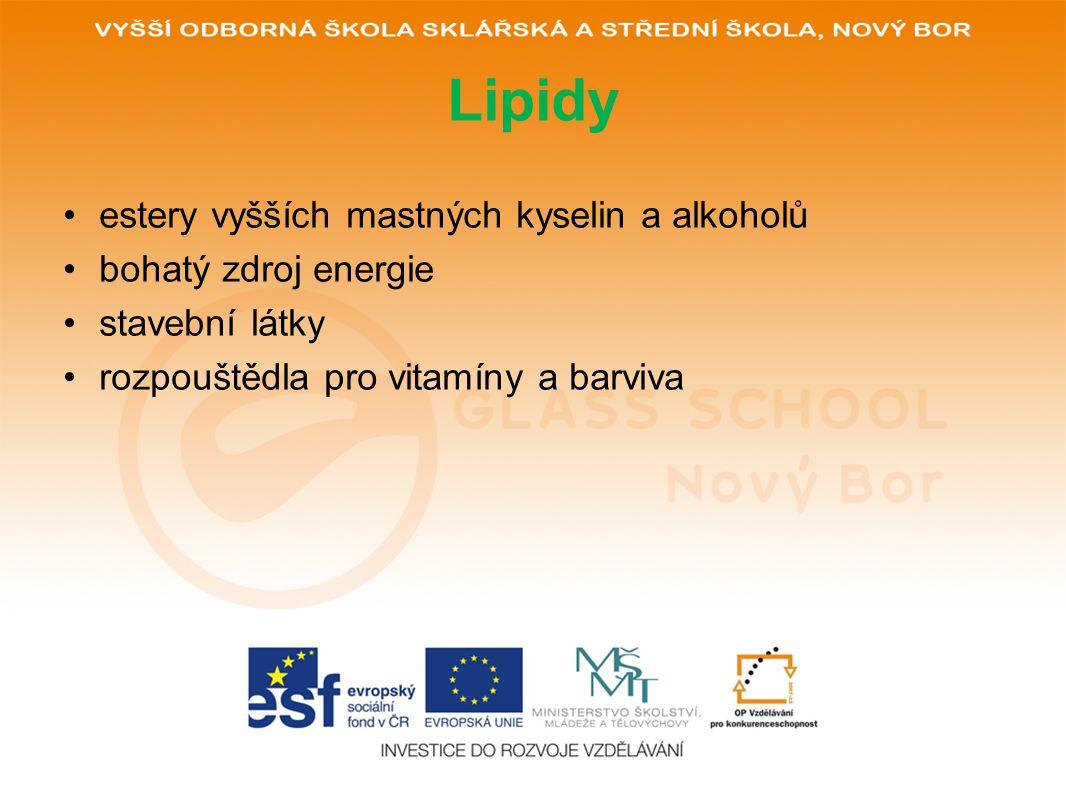 Lipidy estery vyšších mastných kyselin a alkoholů bohatý zdroj energie