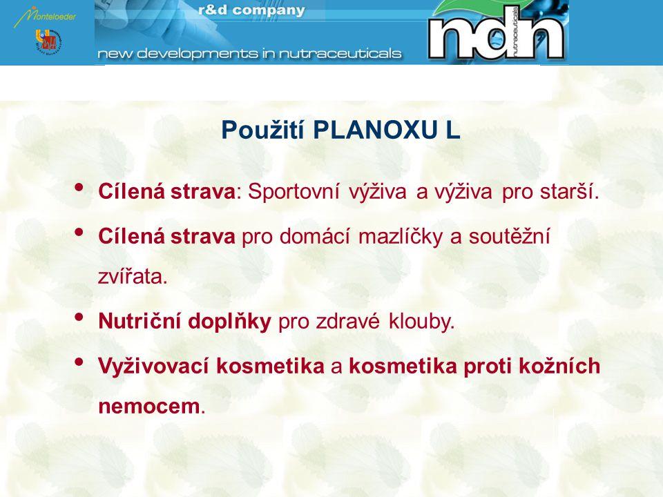 Použití PLANOXU L Cílená strava: Sportovní výživa a výživa pro starší.