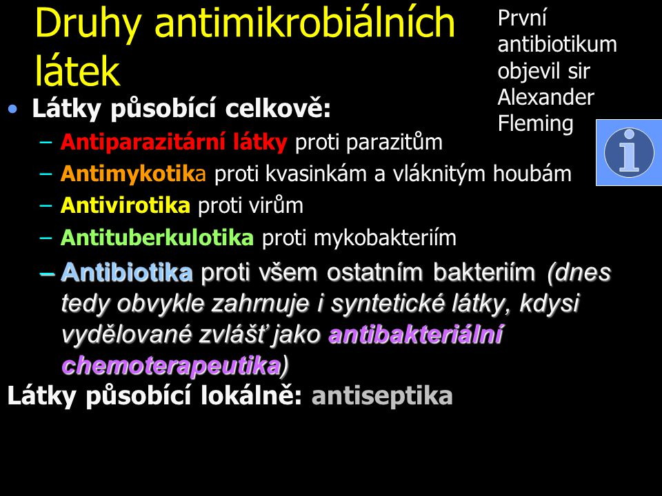 Druhy antimikrobiálních látek