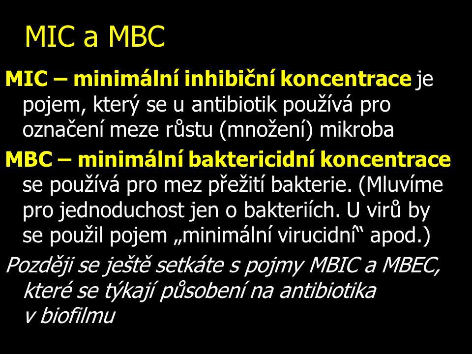MIC a MBC MIC – minimální inhibiční koncentrace je pojem, který se u antibiotik používá pro označení meze růstu (množení) mikroba.