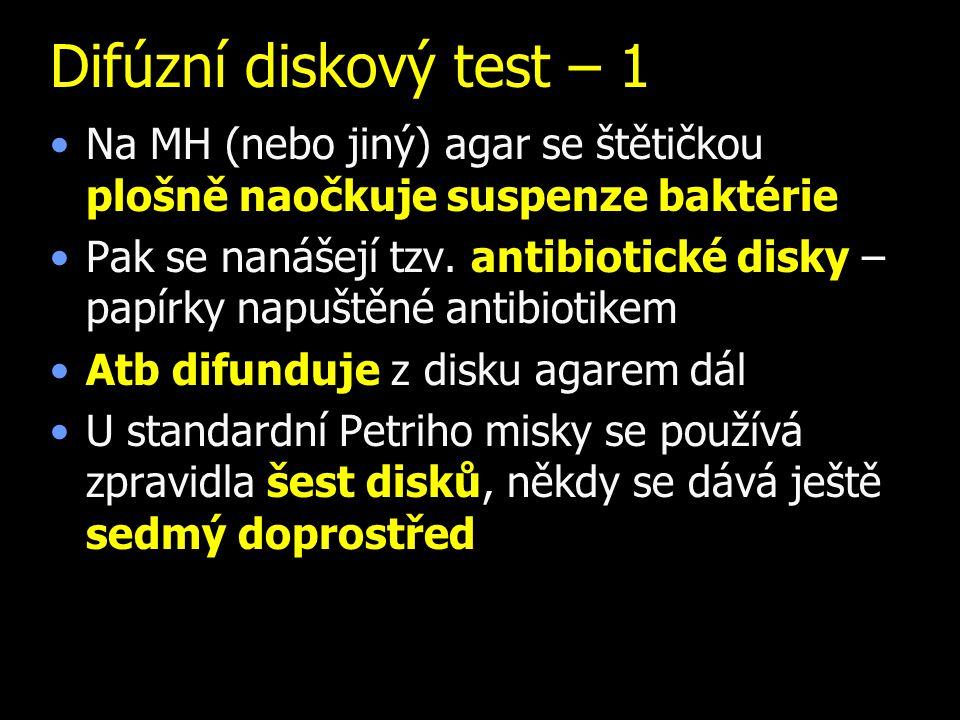 Difúzní diskový test – 1 Na MH (nebo jiný) agar se štětičkou plošně naočkuje suspenze baktérie.