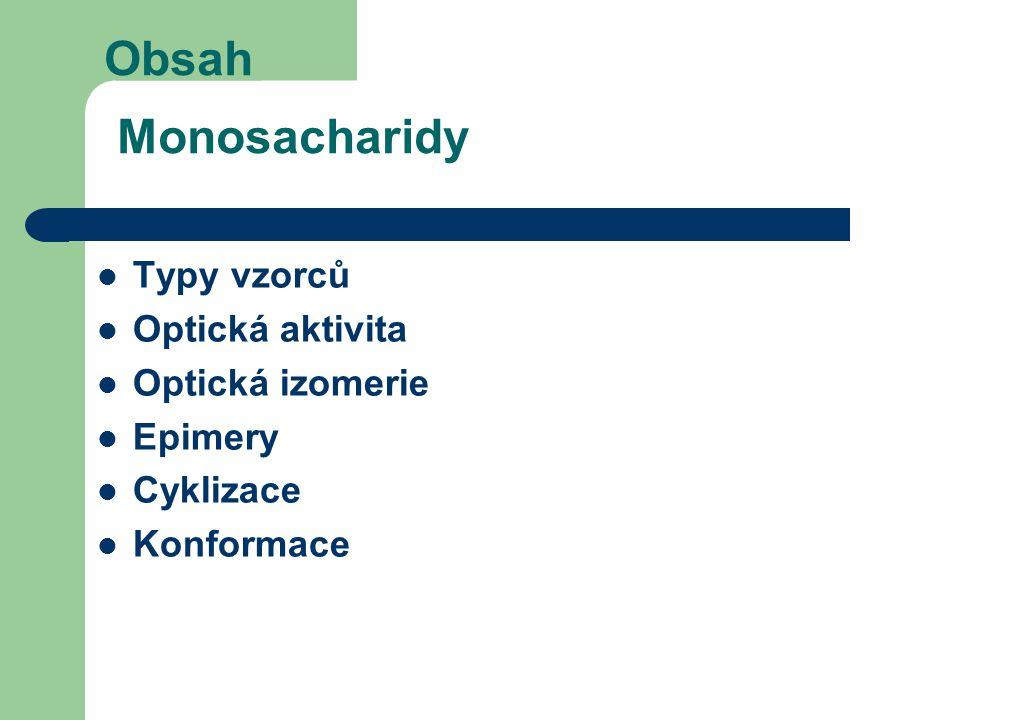Obsah Monosacharidy Typy vzorců Optická aktivita Optická izomerie