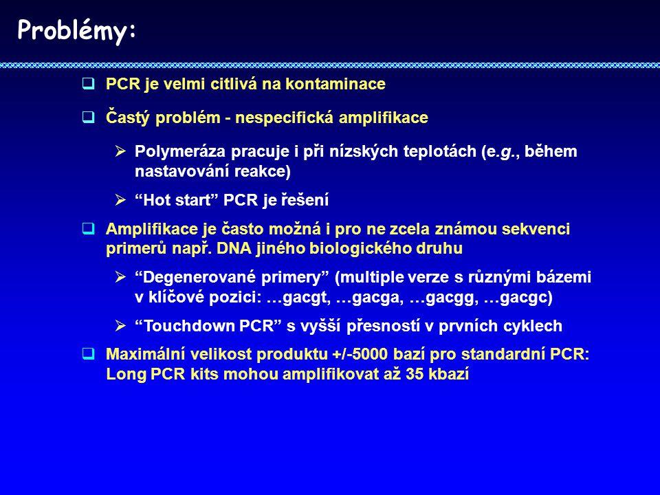 Problémy: PCR je velmi citlivá na kontaminace