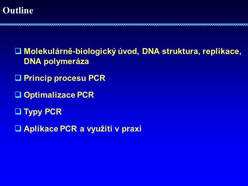 Outline Molekulárně-biologický úvod, DNA struktura, replikace, DNA polymeráza. Princip procesu PCR.